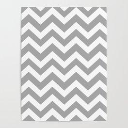Dark medium gray - grey color - Zigzag Chevron Pattern Poster