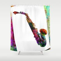 saxophone Shower Curtains featuring music  by mark ashkenazi