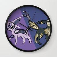umbreon Wall Clocks featuring Espeon & Umbreon Anatomy by Logan Niblock