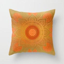 """Savanna Orange-Gold Mandala"" Throw Pillow"