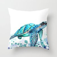 turtle Throw Pillows featuring Turtle by Ismay Verbeek