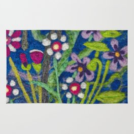 Cozy Felted Wool Flower Garden Rug