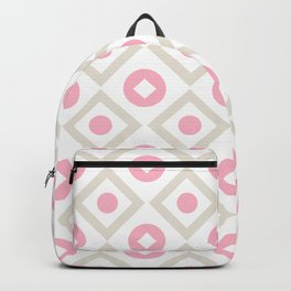 Pink pastel pattern of rhombuses and circles Backpack