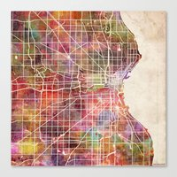 milwaukee Canvas Prints featuring Milwaukee map by MapMapMaps.Watercolors