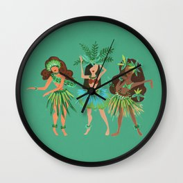 Luau Girls on Mint Wall Clock
