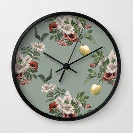 Elegant flower bouquet and lemon twig Wall Clock