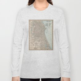 Vintage Map of Chicago (1893) Long Sleeve T-shirt