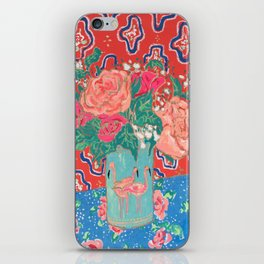 Roses in Enamel Flamingo Vase iPhone Skin