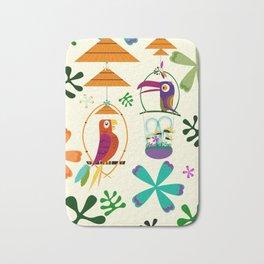 Vintage Modern Tiki Birds Bath Mat