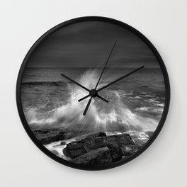 Mediterranean Wave At Sunset. Bw Wall Clock