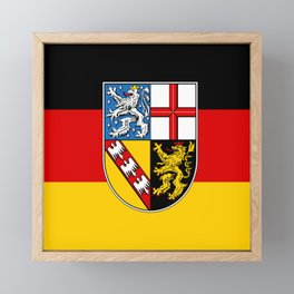 Flag of  Saarland -Sarre Framed Mini Art Print