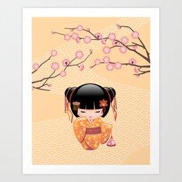 Japanese Ume Kokeshi Doll Art Print