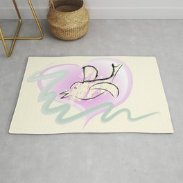 Romantic Dove and Heart Rug