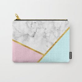 Geometric marble with gold leaf, pink and blue Carry-All Pouch