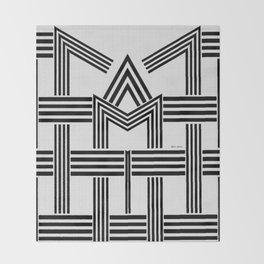 Black and White M Throw Blanket