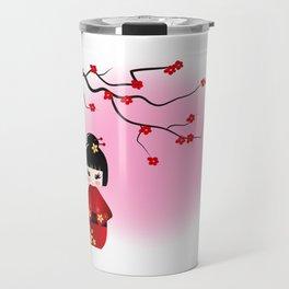 Japanese kokeshi doll at sakura blossoms Travel Mug