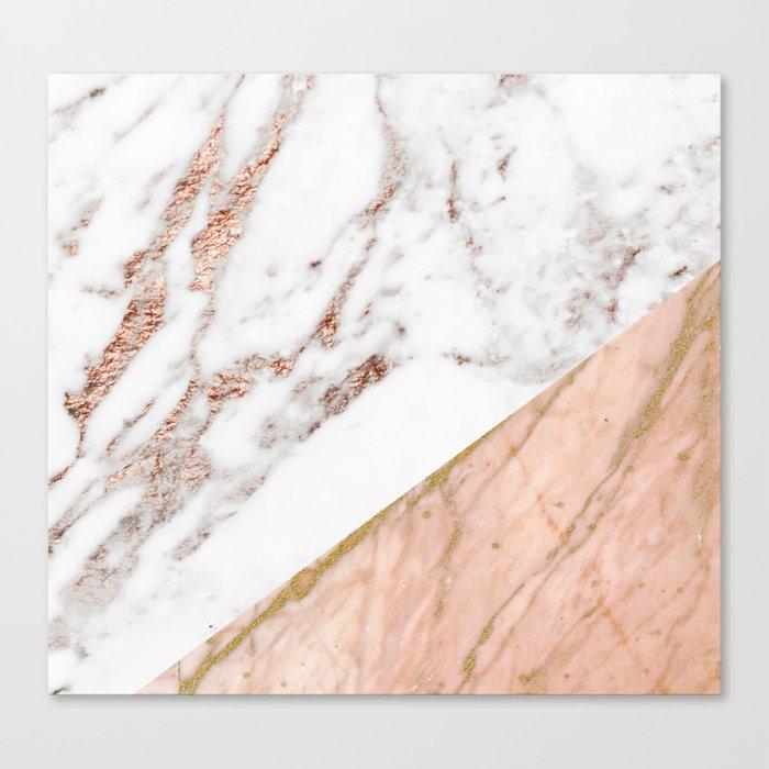 Marble rose gold blended Leinwanddruck