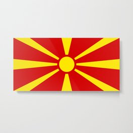 Flag of Macedonia - authentic (High Quality image) Metal Print