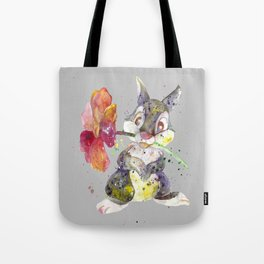 Bunny With flower Tote Bag