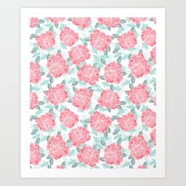 Peony flowers white pink and green trendy girly floral bouquet painted flowers botanical pattern Art Print