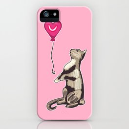 Cat with a Heart Balloon Illustration iPhone Case