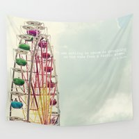 ferris wheel Wall Tapestries featuring Ferris wheel by Ana Guisado