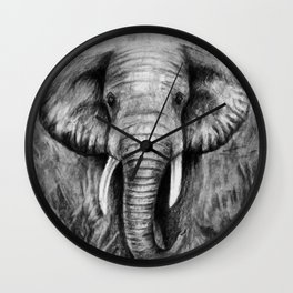 Charcoal Elephant Wall Clock
