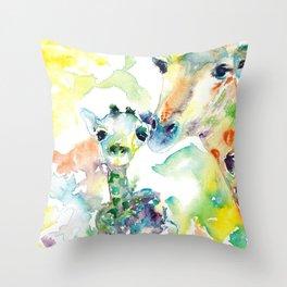 Giraffe Mama and Baby Throw Pillow