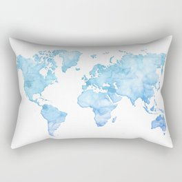 Light blue watercolor world map Rectangular Pillow