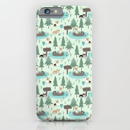 Majesty Pembroke - Happy Corgis Are Fishing In Forest Lake iPhone Case