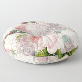 Vintage Roses and Lilacs Pattern - Smelling Dreams Floor Pillow