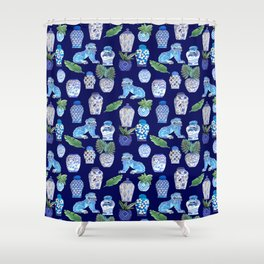 Chinese Ginger Jars and Foo Dogs, Chinoiserie, Hampton's Style Shower Curtain