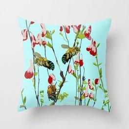 Blue Banded Bee Amegilla cingulata Throw Pillow