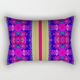 Boho Folk Art Flowers and stripes - blue, green, pink, purple, red Rectangular Pillow