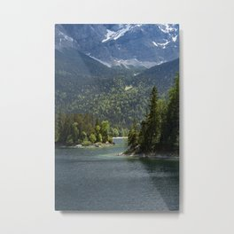 Eibsee lake in Germany in front of the mountain Zugspitze during daytime Metal Print