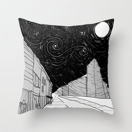 Night Sky in Middling City Throw Pillow