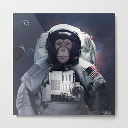 chimpanzee astronaut in the space dust Metal Print