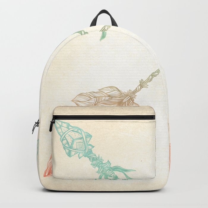 Tribal Arrows Turquoise Coral Gradient Backpack