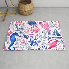 Hand painted blush pink blue watercolor nautical sea pattern Rug