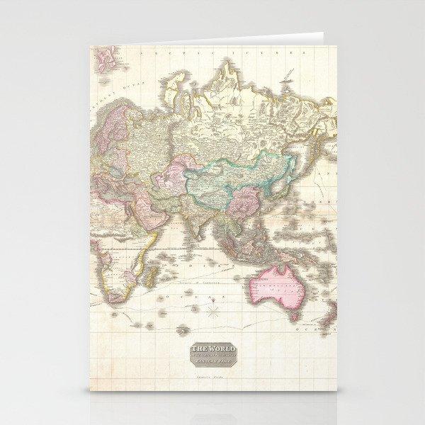 Vintage Map of The Eastern Hemisphere (1818) Stationery Cards by  bravuramedia