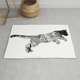 Black Panther Jungle, Hidden Scene, Moon, Stars, Jungle plants, Leaves Rug