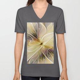 Floral Beauty, Abstract Fractal Art Flower Unisex V-Neck