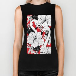 Flamingos and tropical flowers and leaves Biker Tank