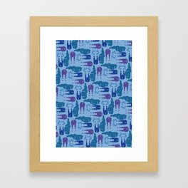 Blue Moose Pattern Framed Art Print