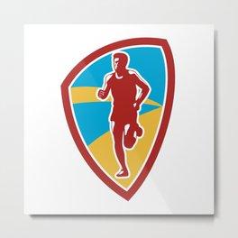 Marathon Runner Shield Retro Metal Print