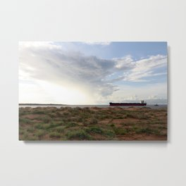 Ore Ship off Spoil Bank - Clouds Metal Print
