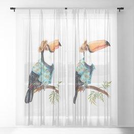 Summer Toucan in Hawaiian Shirt Sheer Curtain