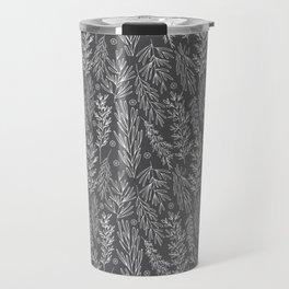 Charcoal Leafy Boughs Modern Botanical Travel Mug