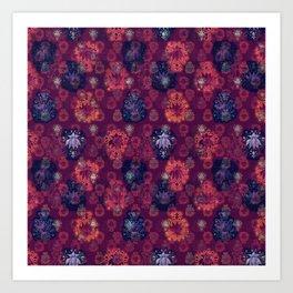 Lotus flower - fire on mulberry woodblock print style pattern Art Print