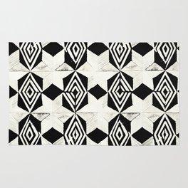 Tribal Shibori Stars Black and Cream Rug